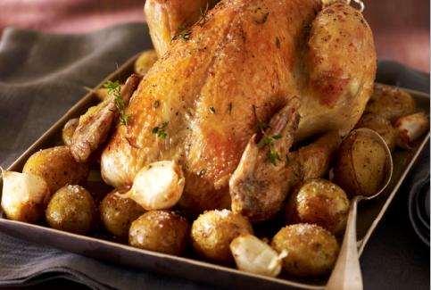 Gebraden Label Rouge-kip met aardappelen