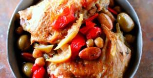 Fricassee de poulet Label Rouge aux amandes et tomates confites