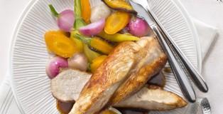 Chapon LR (suprêmes) chutney mangue légumes glacés