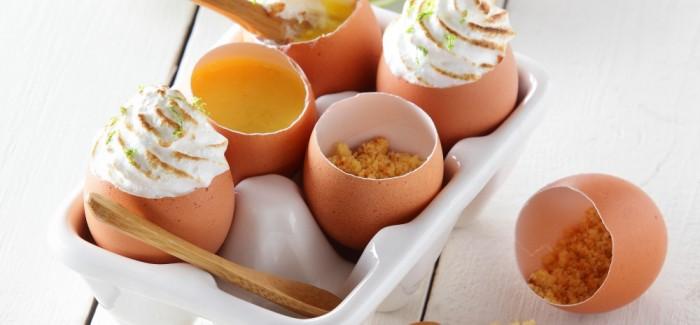 Tarte au citron meringuée en coquille d'œuf Bio
