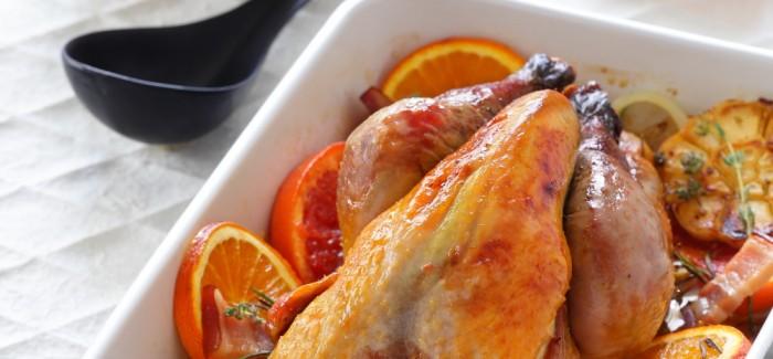 Pintade fermière Label Rouge à l'écrasé de carottes, aux agrumes et au lard