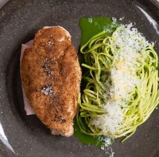Poulet fermier Label Rouge façon cordon bleu au jambon blanc, linguine